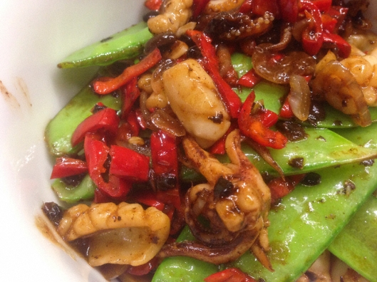 Stir-Fried Squid with Black Bean Sauce